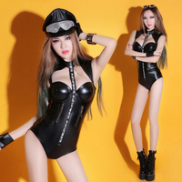 Pole Dancing Stage Lead Suit Dj Singer Costume for Women New Bar Performance Suit Sexy PU Slim Club Lead Suit Bodysuit Jazz