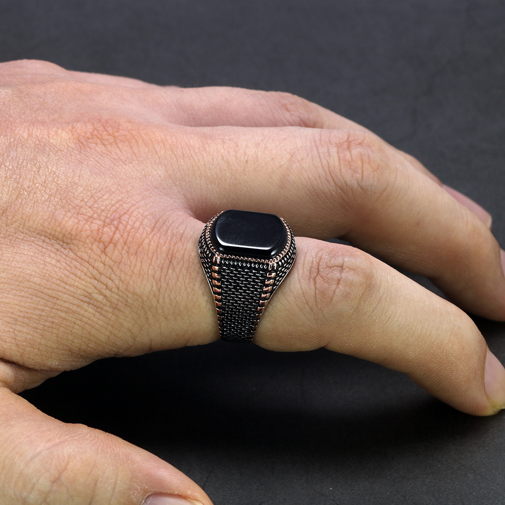Image 5 - Turkey Jewelry Black Ring Men Light weight 6g Real 925 Sterling Silver Mens Rings Natural Onyx Stone Vintage Cool Fashion-in Rings from Jewelry & Accessories
