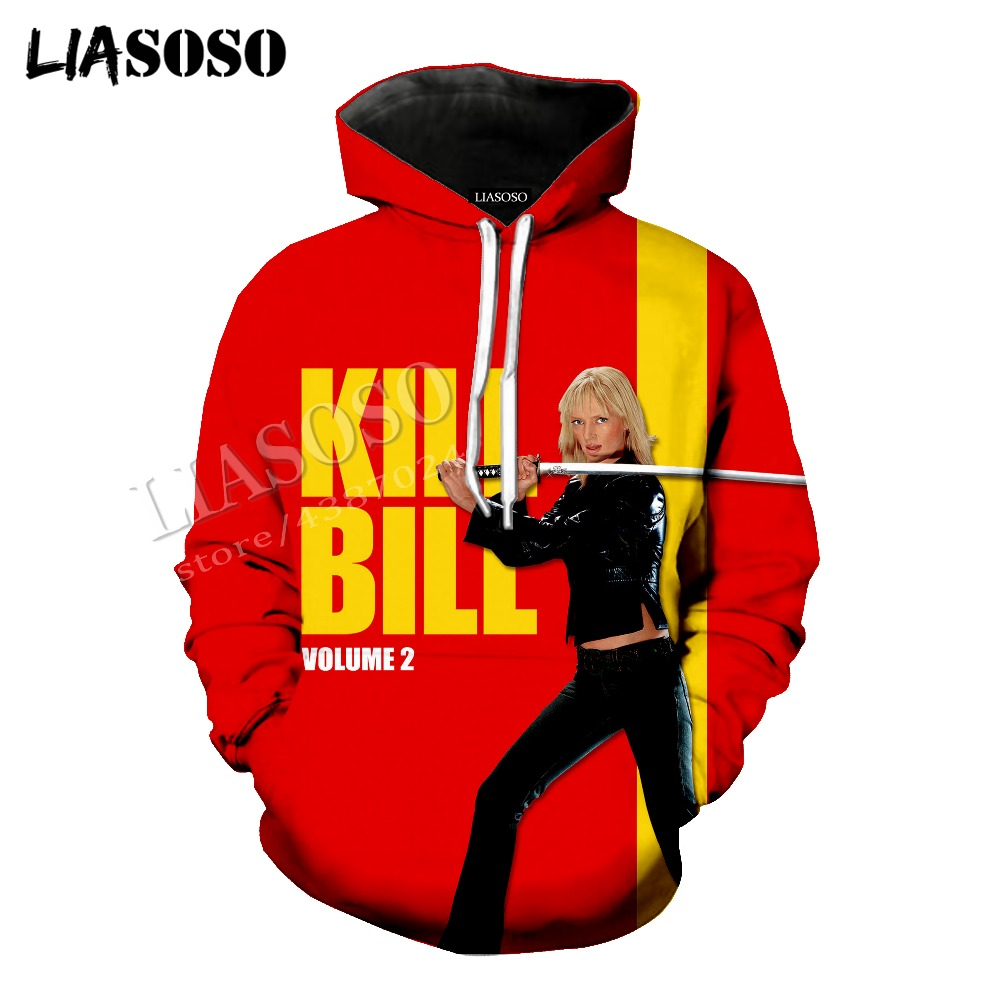 LIASOSO latest 3D printing cozy polyester sportswear set Quentin movie Kill Bill men women violence Tshirt hooded shirt CX792