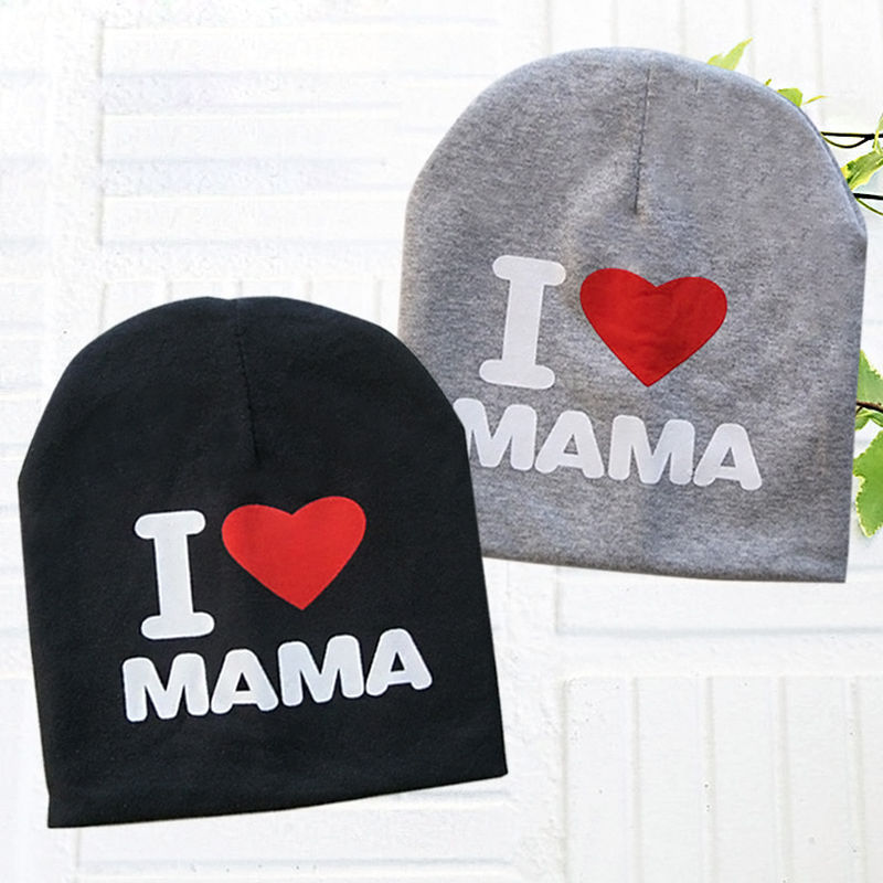 Baby Hats Spring Autumn Winter Cute Hats Toddler Kids Knitted Letter Print I Love Mama Caps Boys Girls   Beanies   Caps Accessories
