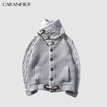 CARANFIER Pullover Lapel Collar Long Sleeve Knit Sweater Cardigan Horn Turtleneck