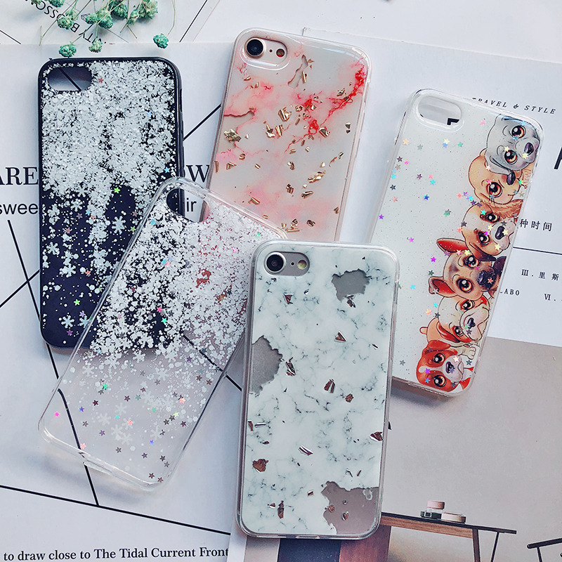 Luxury Gold Foil Bling Marble Phone Cases For iPhone X 10 Cover Hole Soft TPU Cover For iPhone 7 8 6 6s Plus Glitter Case Coque (14)
