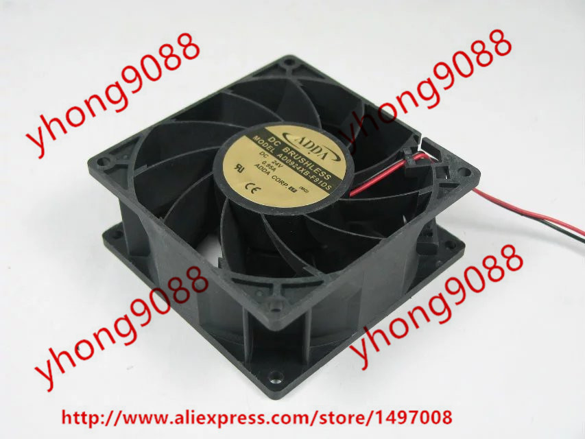 Free Shipping For ADDA AD0924XB-F91DS DC 24V 0.95A 2-wire 92x92x38mm Server Square Cooling Fan Free Shipping free shipping 24v dc mig welding wire feeder motor single drive 1pcs