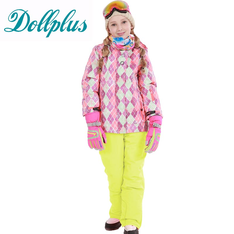 Russian Winter Children Clothing Sets Windproof Girls Ski Jacket+Bib Pants 2pcs Set Girls Ski Suit 6-16Y russian winter children ski suit windproof outdoor girls ski jackets bib pants 2pcs girls clothing set for 2 7 years