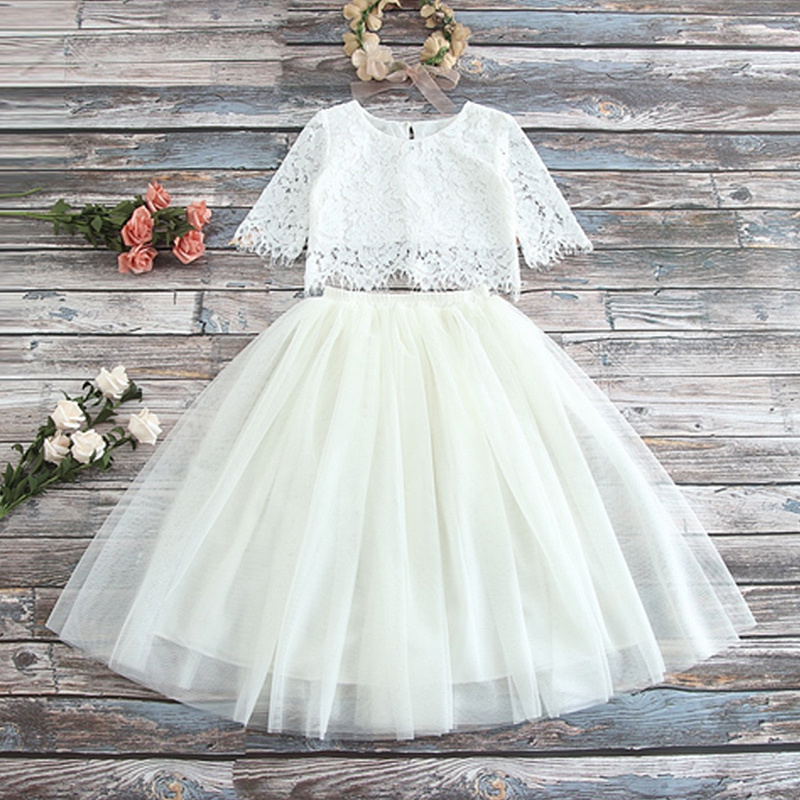 HTB1lqtzWgHqK1RjSZJnq6zNLpXau Children Girls Embroidery Clothing Wedding Evening Flower Girl Dress Princess Party Pageant Lace tulle Gown Kid Girls Clothes