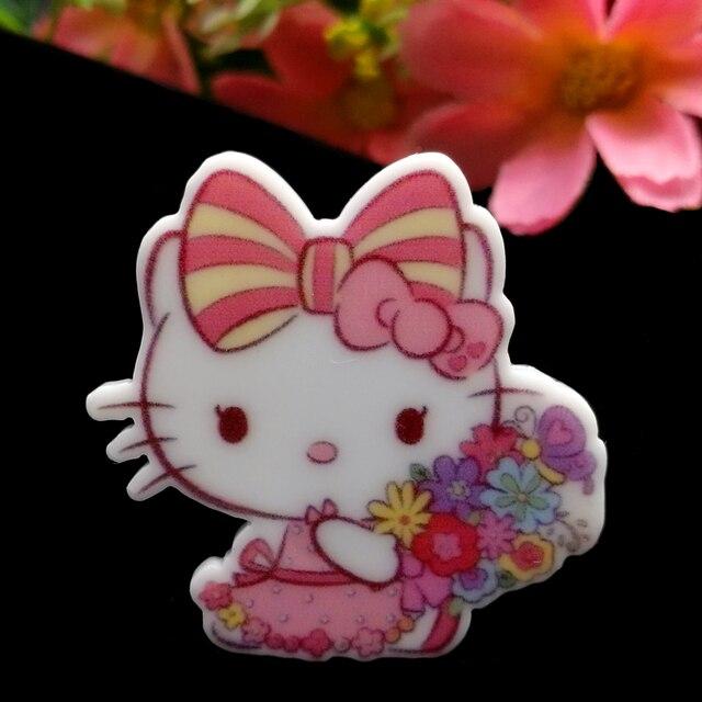 03ad16dea 40pcs/Lot 32x31mm Cute Bow Hello Kitty Flower Planar Resin Flatback  Cabochons Hair Bow Center DIY Frame Card Making Embellishmen
