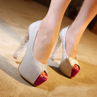 Korea New Nightclub Thick High Heels With Crystal Peep Toe Pumps Platform Shallow Mouth Rhinestone Shoes