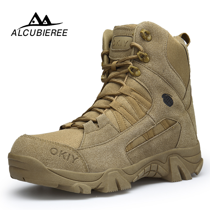 ALCUBIEREE Winter Fashion Military Boots Mens Comfortable Ankle Boots Men Work Shoes Army Desert Combat Boots Men Snow Footwear