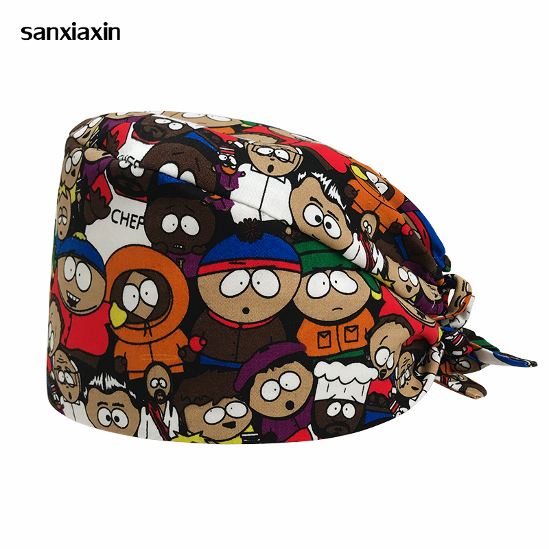 New Male Doctor Surgical Cap Anime Print Scrub Cap Pet Grooming Doctor Work Cap Cotton Medical Use Doctor Accessories Nurse Cap