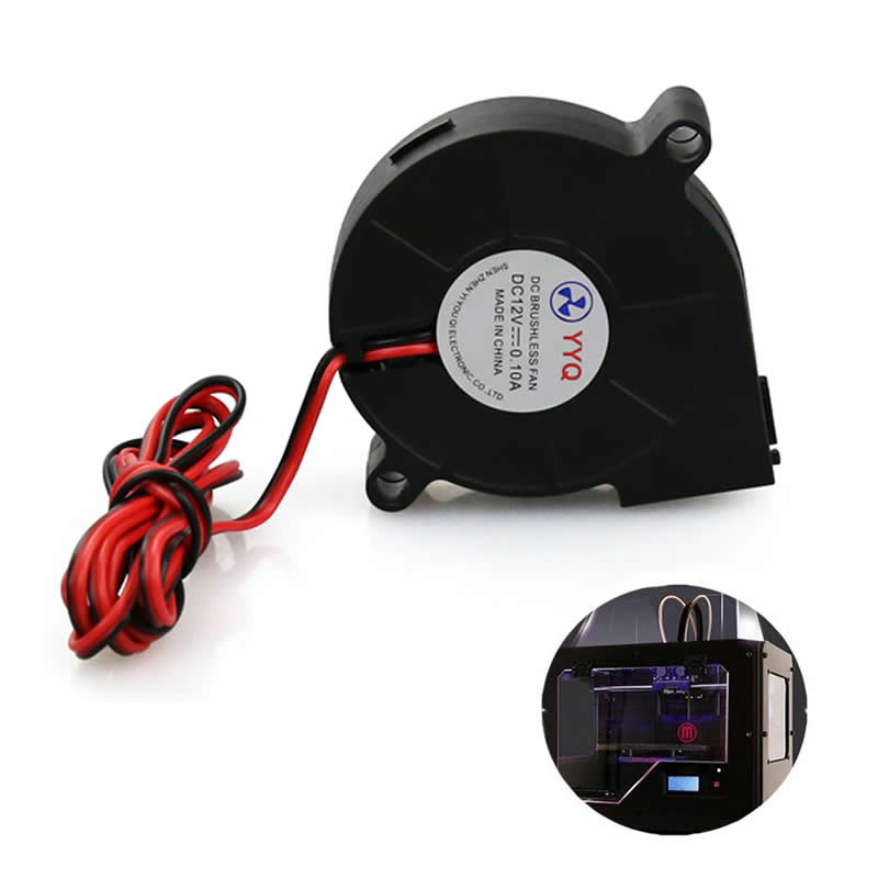 1Pc 12V DC 50mm Ultra-Quiet Oil Bearing Blow Radial Cooler Cooling Fan Hotend Extruder Printer Parts For RepRap 3D Printer 3d pinter fan 1pcs dc 12v 5015 cooling fan hotend extruder for reprap 3d printer parts 50mm blower radial cooling fan