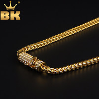 Trendy Mens Gold Franco Chain Necklace Upgrade Rhinestones Box Clasp Stainless Steel Necklace Hiphop Jewelry Wholesale