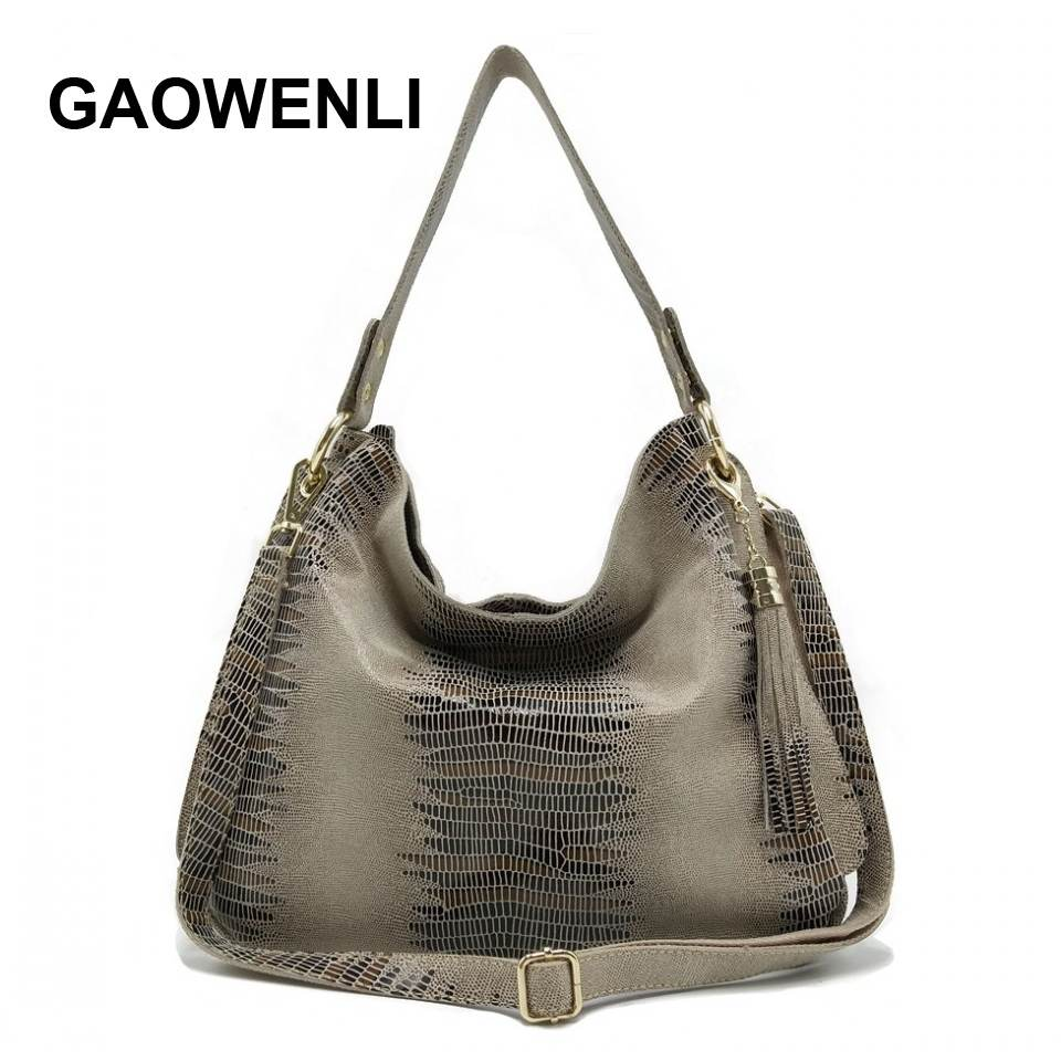 GAOWENLI Brand 2018 Genuine Leather Messenger Bag Women's Shoulder Bags Female Handbags Large Capacity Ladies Casual Tote Bag 2017 luxury brand women handbag oil wax leather vintage casual tote large capacity shoulder bag big ladies messenger bag bolsa
