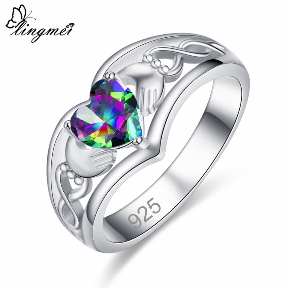 lingmei Claddagh Style Wedding Heart Jewelry For Women Multicolor & Blue Cubic Zircon Silver 925 Solitaire Ring Size 6 -13 Gift