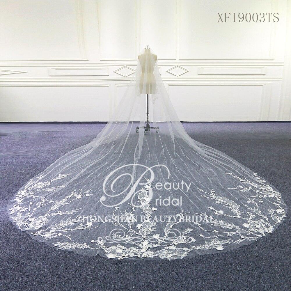 Свадебные аксессуары, вуаль из тюля с кружевной кромкой и гребнем, veu de noiva XF19003TS