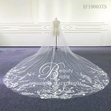 Wedding Accessories Tulle chapel Wedding Veil Lace Edge Bridal Veil with Comb veu de noiva XF19003TS