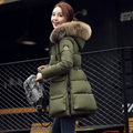 2016 winter cotton-padded jacket female medium-long plus size slim fur collar coat thickening cotton-padded jacket s115