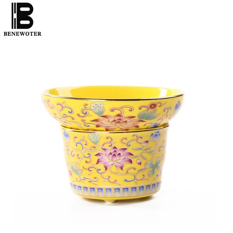 Creative Hand Painted Enamel Color Tea Drain Chinese Kung Fu Tea Set Accessories Coffee Milk Strainer Tea Ceramic Filter Gifts