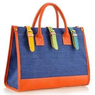 nuevo bolso de las mujeres bolsa de lona del hombro retro golpeó el color que c