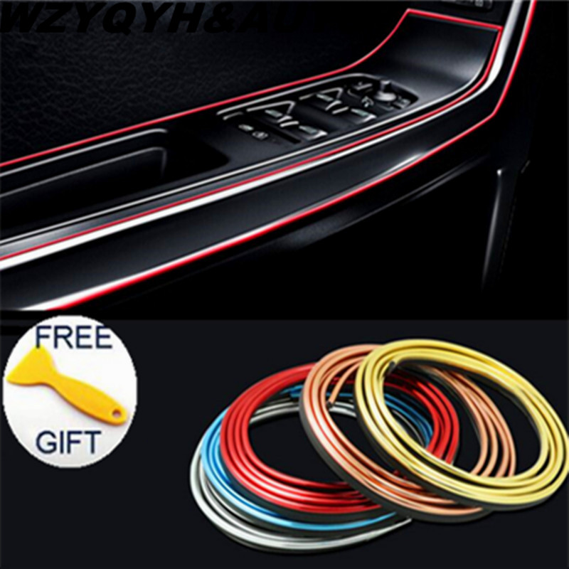 HOT 5M Car Interior Mouldings Trims Decoration Line Strips Car-styling Door Dashboard Air Outlet Decorative Sticker Accessories
