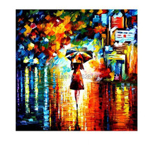 Free shipping Beautiful canvas Artwork red girl in Umbrella Landscape Palette Knife Oil Painting Home Cafe Decoration 1pn21