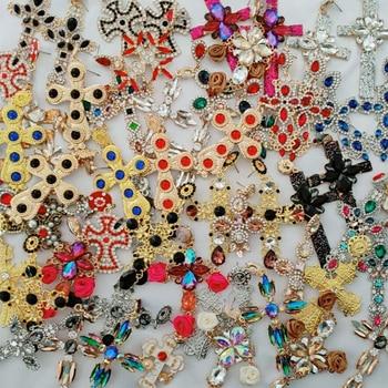 JURAN Vintage Rhinestone Cross Earrings For Women Fashion Baroque Drop Earrings Bohemian Large Long Earrings Jewelry Brinco 2019
