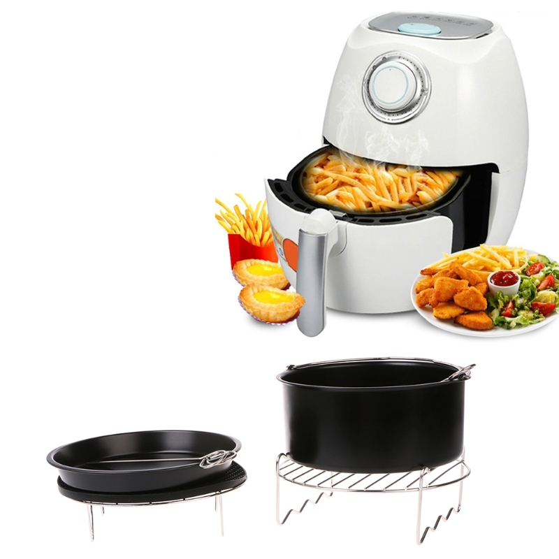 MEXI 7Inch Air Fryer Pan Accessory Baking Basket Pizza Plate Grill Pot Multi-function