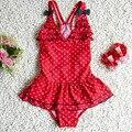 Baby Girl Summer Swim Suit One Pieces With Bow Set Spots Princess Beach Swimwear Toddler Kids Cute Swimwear Bikini S2028