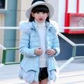 2016 новых детей пуховик утолщаются зиму толстый теплый девушка большой капюшоном меховой воротник корейских детей детские пальто девушки пальто
