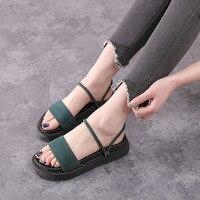 Women Flat Sandals Summer 2018 New Large Size Women Shoes Platform Sandals Peep Toe Flat Roman