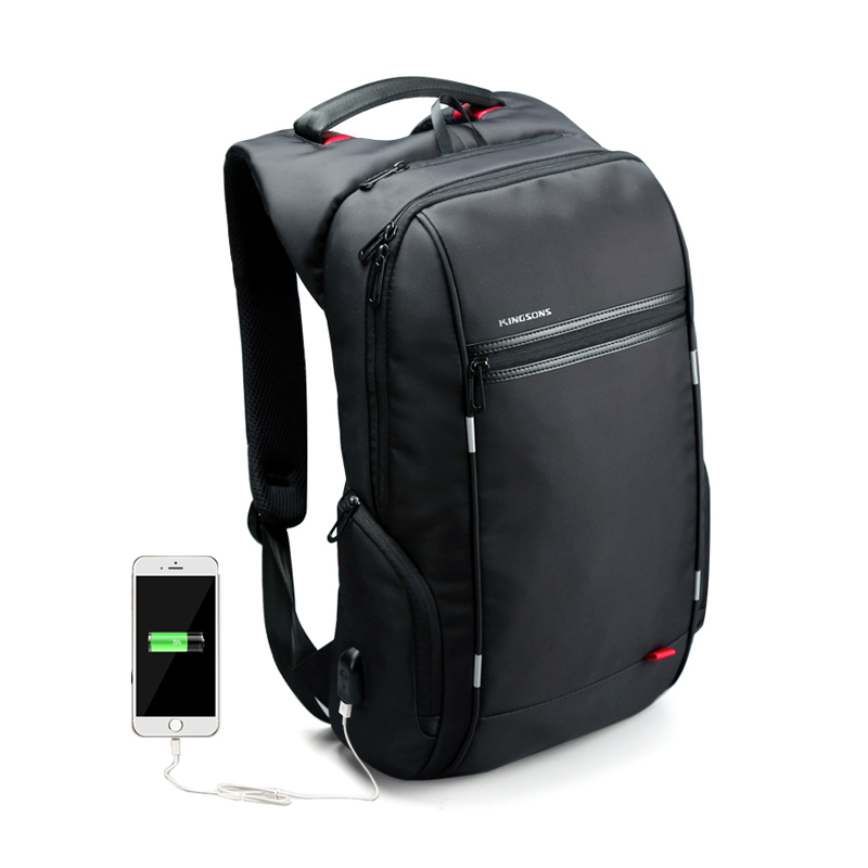 ФОТО External USB Charge Antitheft Notebook Backpack-B Design for Women Men 15.6'' Waterproof Laptop Backpack Computer Bag