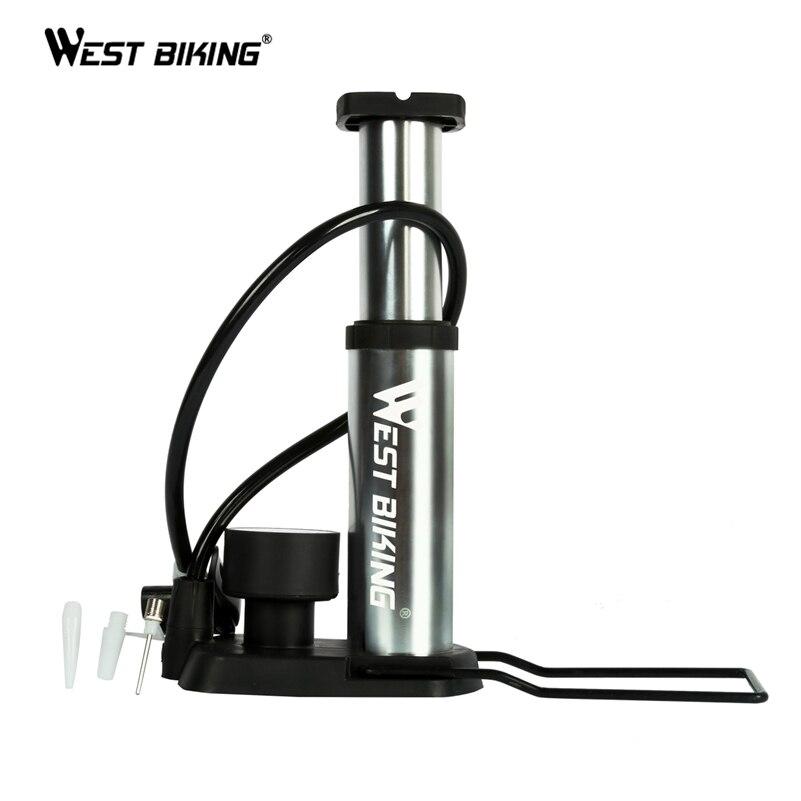 WEST BIKING Ultra-light MTB Bike Pump Portable Pump With Pressure Gauge Bomba de ar bicicleta 120 Psi High Pressure Bicycle Pump