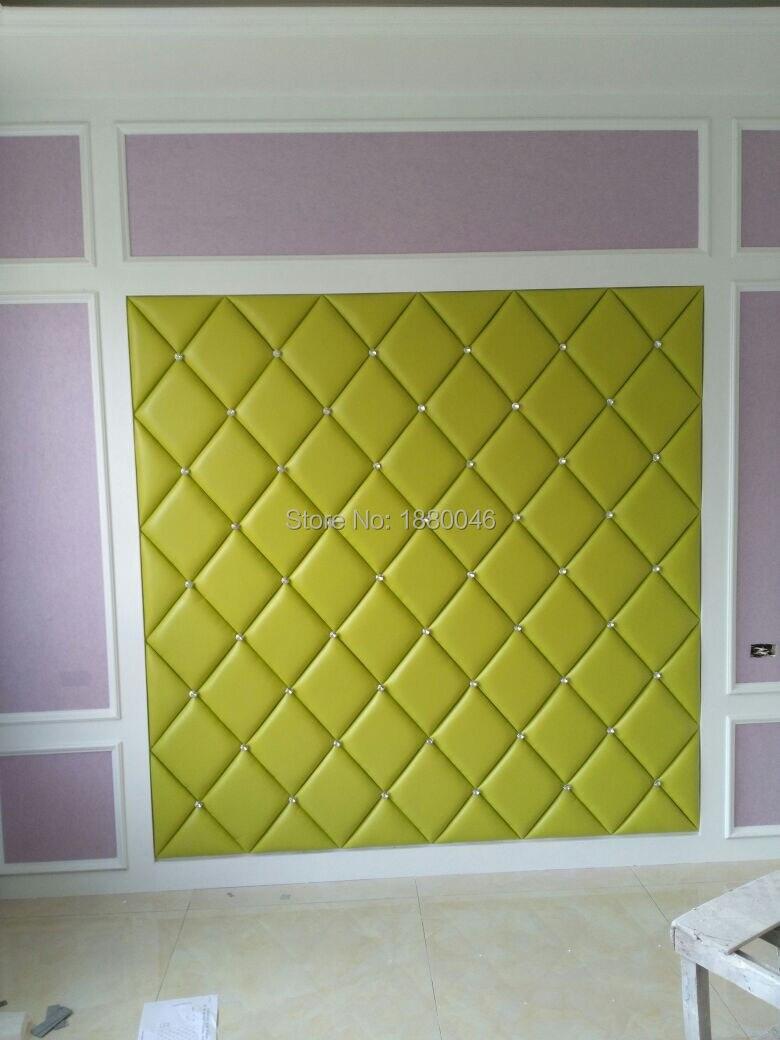 Роскошный Зеленый Цвет 3D клей из искусственной кожи стеновые панели бриллиантами стикер интерьера настенный Декор для ТВ Задний план Wall Art