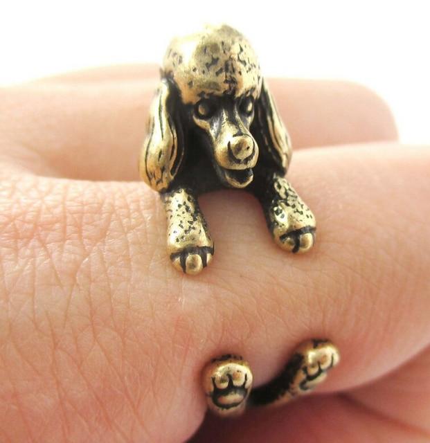 Фото оптовая продажа кольцо в виде пуделя 12 шт/лот свободного размера