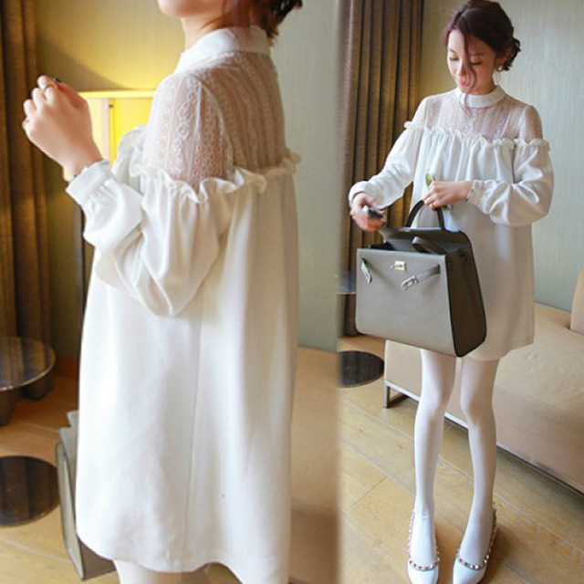 dresses Special supply 2015 spring new maternity big yards hollow lace chiffon pregnant women dress pregnant