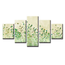 5 Panel Modern Small green leaves Painting Picture Canvas Art Painting for Living Room Wholesale No Frame or Frame(China)