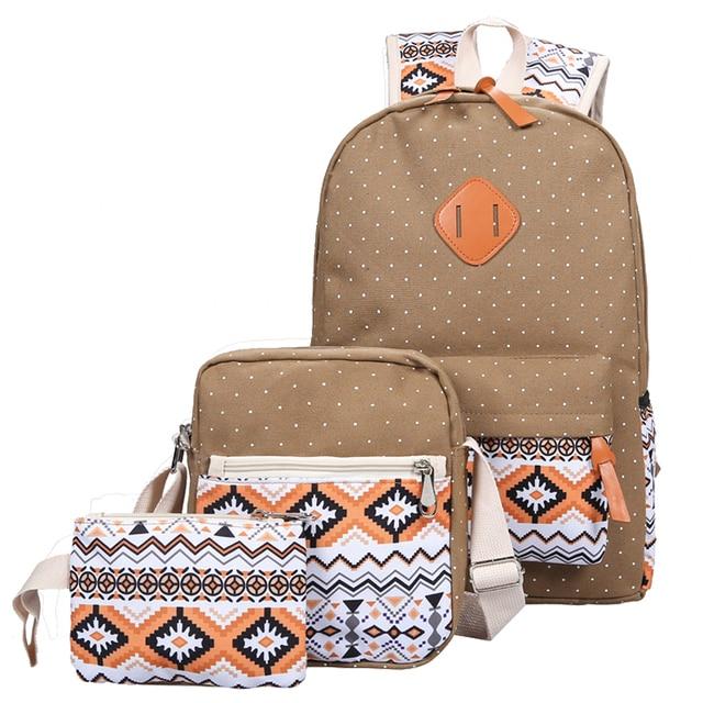 216f8f2497c1 3 PC Set Stylish Canvas Printing Backpack Women School Bags for Teenage  Girls Cute Bookbags Laptop Backpacks Female Bagpack Sac