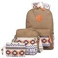 3 Unid/set Elegante Impresión de la Lona Mujeres Mochila Bolsas Escolares para Adolescentes Bookbags Lindos Mochilas Portátiles Femeninos Mochila Sac