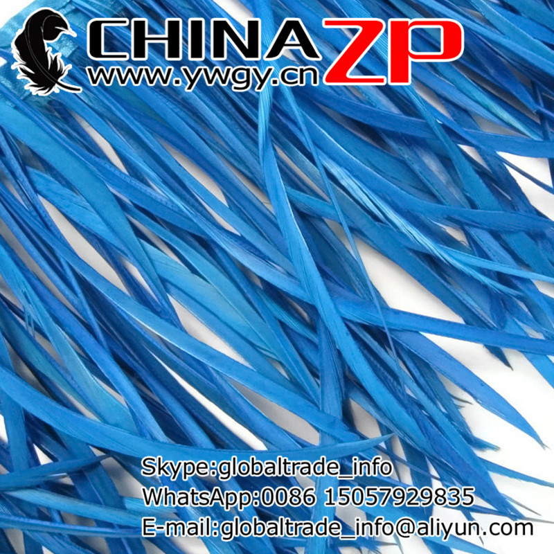 Gold Supplier CHINAZP Factory Wholesale 10yards/lot Selected Prime Quality Dyed Blue Goose Biots Feather Trim