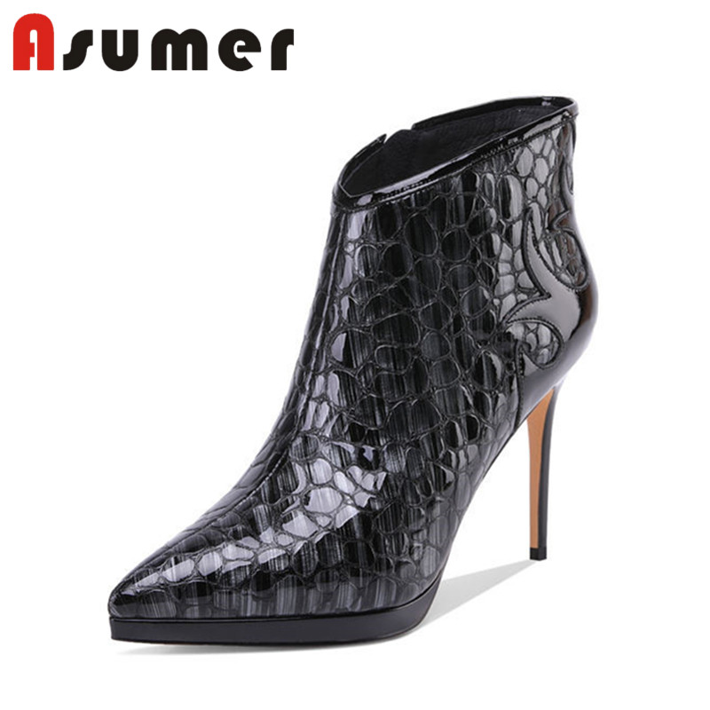 ASUMER 2018 NEW ADULT pointed toe ankle boots for women fashion sexy high heels boots thin heels zip genuine laether boots asumer 2018 new arrive genuine leather boots pointed toe thin heels ankle boots for women fashion solid winter high heels boots