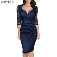 Lace Dress 2016 New Style Autum Dress Deep V Neck Solid Knee Length Sexy Club Party