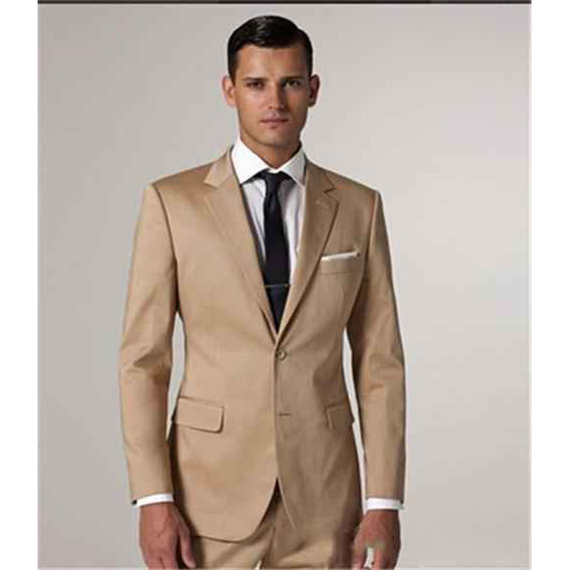 2018 Latest Design champagne Mens Suits Groom Tuxedo Groomsmen Wedding Party Men Suit smoking Blazer masculino (Jacket+Pants)