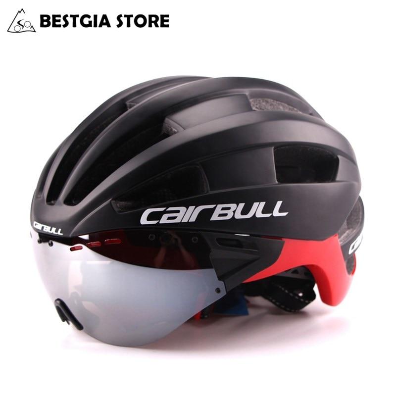 Óculos de Ultra-leve 235g Capacete de Ciclismo de Estrada de Montanha MTB Bicicleta Capacete In-mold Capacete Da Bicicleta Com Sol viseira do Capacete M54-58 Centímetros