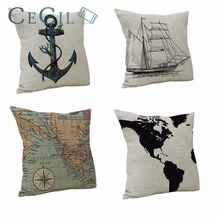 Nautical Series Cushion Cover Ships Flower Shape Map Compass Boat Decorative Office Home Sofa Bedroom Decorative Throw Pillowcas
