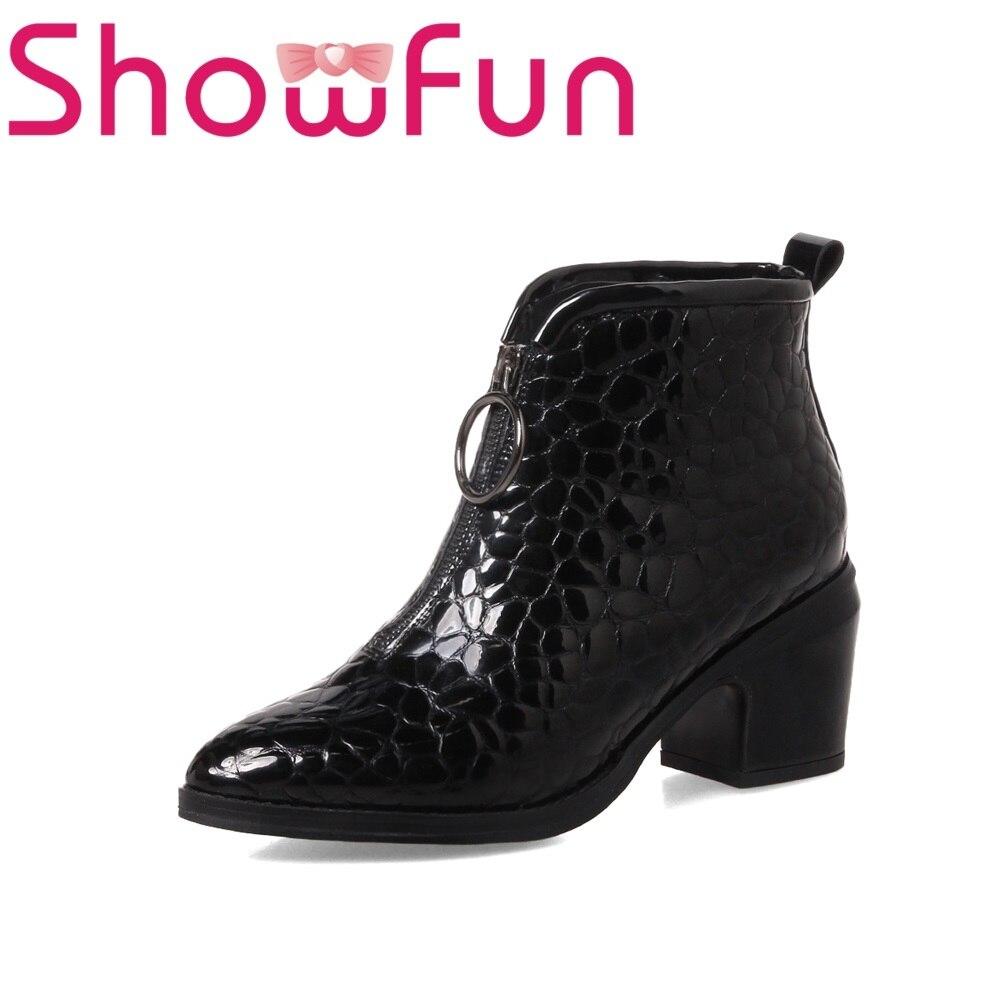 Showfun genuine leather shoes woman paisley square heels boots showfun 2018 genuine leather retro faux