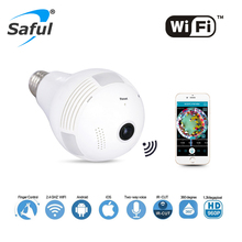 Saful Wireless IP Camera Wifi Home Security Bulb Light hot sale 1.3MP 960P 360 Degree Panoramic P2P Audio Surveillance Camera