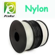 Высокое качество нейлоновой нити 1.75 мм 3 мм выбор 3D нейлон черный белый натуральный цвет 3D нити нейлон pa 1 кг 3D filamento