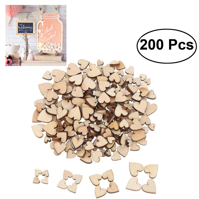 200 Pcs Blank Heart Wood Slices Discs For DIY Crafts Embellishments For  Art Wedding Party Home Room Decoration
