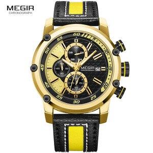 Image 2 - MEGIR montre bracelet de sport en cuir pour hommes, mode chronographe, étanche, analogique, à Quartz, 2079GDBK