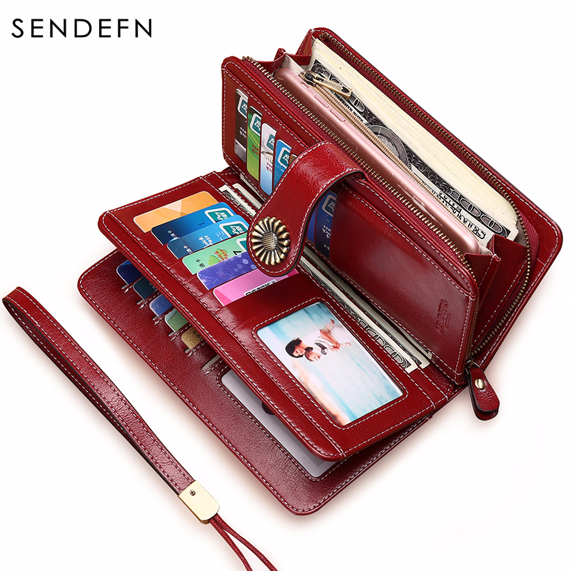 SENDEFN Hot Sale Women Clutch Leather Wallet Female Long Wallet Women Zipper Purse Strap Money Bag Purse For iPhone 7 5162-71