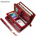 SENDEFN Hot Sale Women Clutch Leather Wallet Female Long Wallet Women Zipper Purse Strap Money Bag Purse For iPhone 7 5162-71